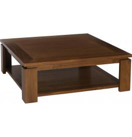 2997 - Table basse teck carrée sous plateau