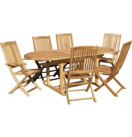 3200 - Ensemble table ovale L180 4 chaises 2 fauteuils teck