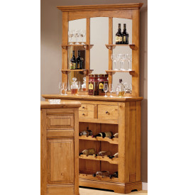3591 - Meuble bar chêne 7 étagères