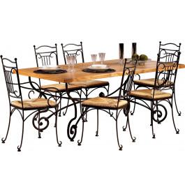 3611 - Table rectangulaire chêne L200 pieds fer forgé