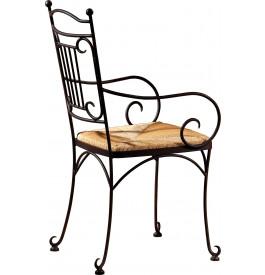 3632 - Fauteuils fer forgé assise paille (x2)