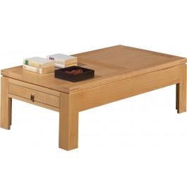 3726 - Table basse rectangulaire chêne clair 2 tiroirs