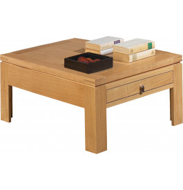 Table basse carr e ch ne clair 2 tiroirs - Table carree chene clair ...