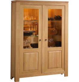 3763 - Buffet vaisselier chêne clair 2 portes vitrées