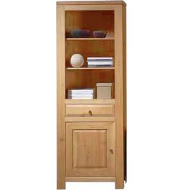 3769 - Bibliothèque ouverte chêne clair 1 porte 1 tiroir