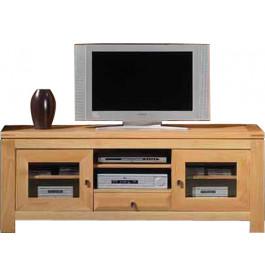 3774 - Banc TV - Hifi LCD Plasma chêne clair 2 portes 1 tiroir 2 niches
