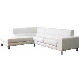 3835 - Salon d'angle modulable cuir blanc glacé Carrare