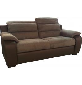 3889 - Canapé relaxation 2,5 places cuir et microfibre
