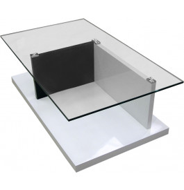4097 - Table basse rectangulaire socle laqué plateau verre trempé