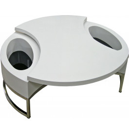 4100 - Table basse design blanche plateau pivotant