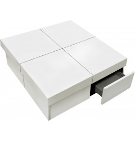 Table basse carr e extensible 4 tiroirs laqu e blanc for Table blanc laquee carree extensible
