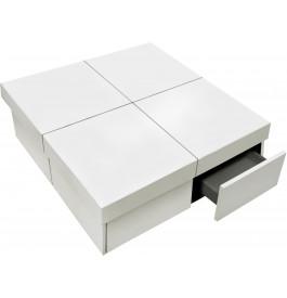 4104 - Table basse carrée extensible 4 tiroirs laquée blanc