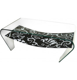4110 - Table basse rectangulaire verre design double plateau à motifs
