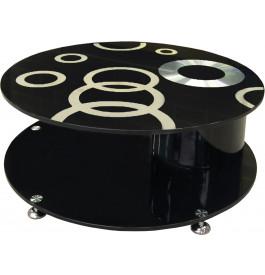 4111 - Table basse ronde design en verre noir à motifs