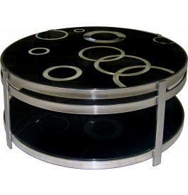 4113 - Table basse design verre et chrome double plateau noir
