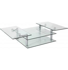 4114 - Table basse verre et chrome carrée articulée 3 plateaux
