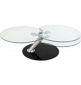 4117 - Table basse ronde articulée 3 plateaux verre