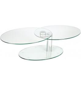 4122 - Table basse ovale verre et chrome articulée L70-118