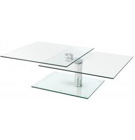 4124 - Table basse carrée verre et chrome articulée
