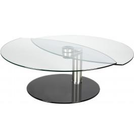4126 - Table basse ovale verre et alu articulée 2 plateaux