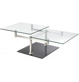 4128 - Table basse verre et alu rectangulaire articulée