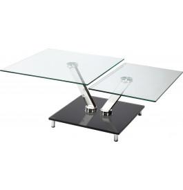4130 - Table basse rectangulaire verre et chrome articulée L79-L100