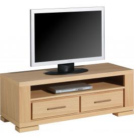 4511 - Banc TV - Hifi LCD Plasma chêne 2 tiroirs 1 niche