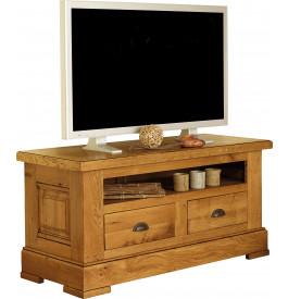 4753 - Meuble TV chêne massif 1 niche 2 tiroirs