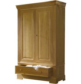 4843 - Armoire chêne 2 portes 1 tiroir décor cannelures