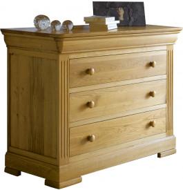 4852 - Commode chêne 4 tiroirs décor cannelures