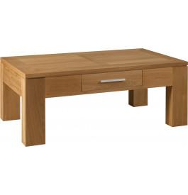 4895 - Table basse chêne pieds carrés 1 tiroir