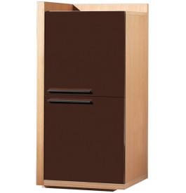Elément de rangement droit chêne 2 portes laque chocolat