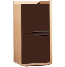 Elément de rangement gauche chêne 2 portes laque chocolat