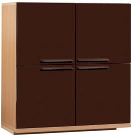 Meuble de rangement chêne 4 portes laque chocolat