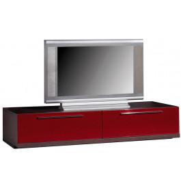 Banc TV - Hifi LCD Plasma chêne wengé 2 abattants laque bordeaux