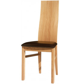 Chaises chêne dossier incurvé assise cuir (x2)