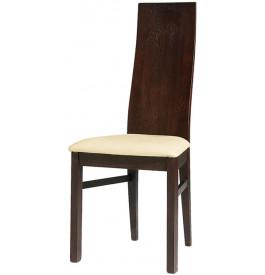 Chaises chêne wengé dossier incurvé assise cuir (x2)