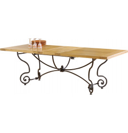 5090 - Table de campagne rectangulaire chêne et fer forgé