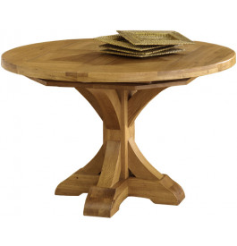 Table de campagne ronde ch ne 120 1 allonge pied central - Table ronde rallonge pied central ...
