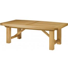5128 - Table chêne massif tonneau chêne pieds carrés