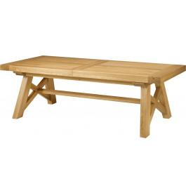 5141 - Table chêne massif rectangulaire ouverture simultanée pieds en X