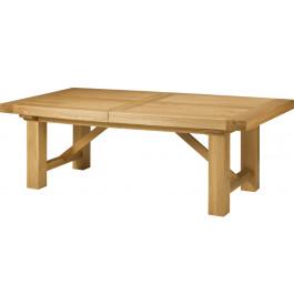 5143 - Table chêne massif tonneau ouverture simultanée pieds carrés