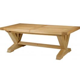 5147 - Table tonneau chêne massif ouverture simultanée pieds en V