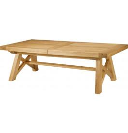 5149 - Table chêne massif tonneau ouverture simultanée pieds en X