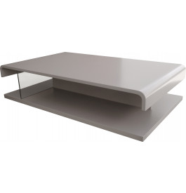 5571 - Table basse design double plateau laque gris platine