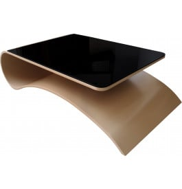 Table basse design courb e laque beige plateau verre noir - Table basse laquee beige ...
