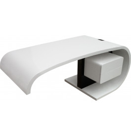 Bureau design virgule laqué blanc et noir 2 tiroirs