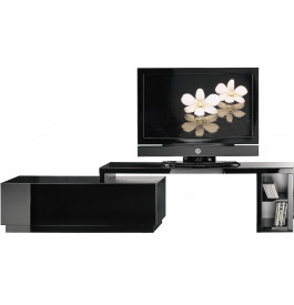 meuble tv hifi lcd plasma pivotant laque noire. Black Bedroom Furniture Sets. Home Design Ideas