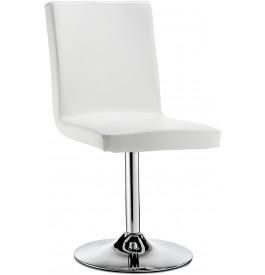 5758 - Chaise design métal chromé et PVC blanc