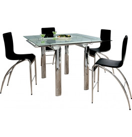 table haute extensible l135 plateau verre 2 allonges pieds m tal chrom. Black Bedroom Furniture Sets. Home Design Ideas